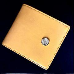 新品 本革 風水 黄色 二つ折財布!