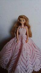ジェニーちゃんベージュピンクのレース編みロングドレス