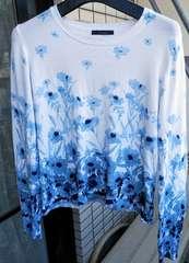 花柄ニット ブルー