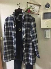 LL☆黒チェック長め丈コットンシャツ
