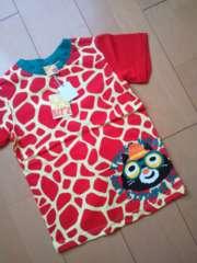 新品きりんしまうまTシャツ120赤ビッツ/Bit'z