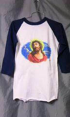 アメリカ 古着 七分袖 3/4sleeve ラグラン Tシャツ  ジーザス イエス