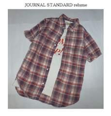 ジャーナルスタンダード*journal standard麻チェック柄半袖シャツ(S)新品