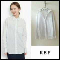 〇KBF〇ストライプ 白シャツ ブラウス コットン