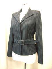 【ロートレアモン】ベルト付き黒/ピンストライプのジャケット