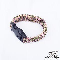 パラコード ブレスレット サバイバルブレス ロープ ピンク 104