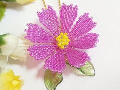 ラスト*ペヨーテステッチ「秋桜・赤紫」ボールチェーン*