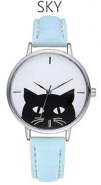 ★黒猫モノトーンシンプルレディース腕時計★SKY