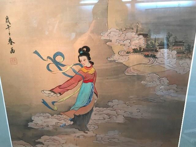 絹本、直筆画。雲上の弁天様。見事です。 < インテリア/ライフの