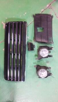 MCワゴンR用RR純正フォグ左右セット+純正黒グリルラジエーターグリル即決送料無料