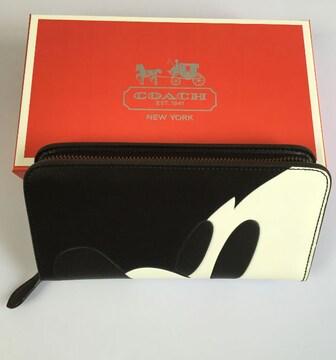 新品COACH 財布 コーチ54000サイフレザーのラウンドZIP長財布