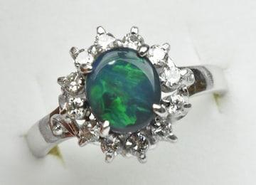 Pt900 ブラックオパール 1.02ct ダイヤモンドリング 12号 指輪
