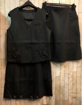 新品☆13号ベストスーツ2種スカート付き事務制服お仕事黒☆j401