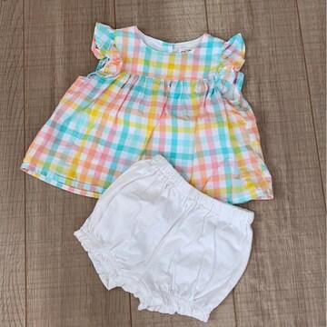 美品baby女の子ワンピ60〜70パンツ付きセットアップ西松屋