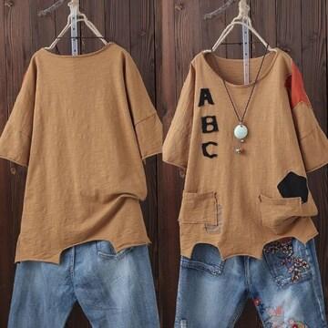 LLXL3L/新品☆ファンパッチ不規則Tシャツ