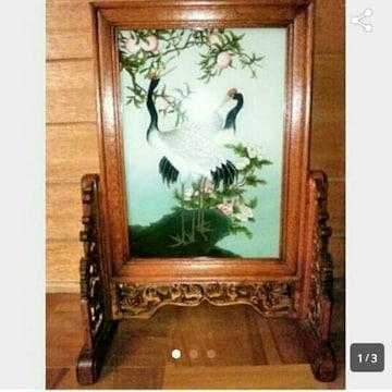 新品 花 桃 鶴 絵画 絵 額 衝立 和風 木製 屏風 日本画 中国美術