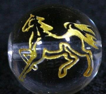 ☆金色線彫りビーズ1粒☆馬☆水晶10mm☆