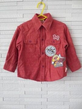 即決/アンパンマン/ばいきんまんワッペン長袖シャツ/赤/90