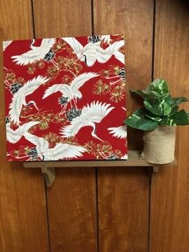 鶴の舞☆木製ファブリックパネル♪24