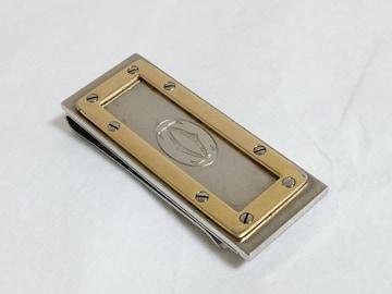正規 激レア Cartier サントス カルティエ ロゴマネークリップ金×銀 財布 カードケース