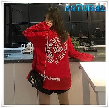 新作★大きいサイズ2L〜4L ロゴプリTシャツ/胸ポケ付*赤