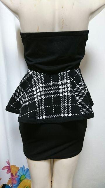 チェック ペプラム ベア ナイトドレス < 女性ファッションの