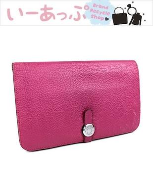エルメス 長財布 二つ折り財布 ドゴンGM ピンク シルバー金具 j789