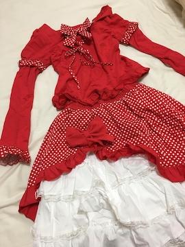 ドレス風上下セット赤/Mサイズ/フリフリな感じのワンピ—ス風