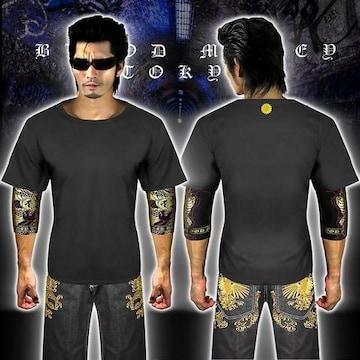 送料無料菊紋柄半袖Tシャツ 派手ヤクザ オラオラ系和柄上下服18001黒金-L