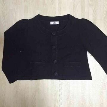 【美品】短丈ノーカラー長袖ジャケット/マミーナ/黒/M
