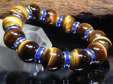タイガーアイ14ミリ§ブルーロンデル数珠