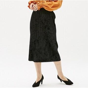 guジーユー クラッシュベロアプリーツスカート 黒 M ブラック