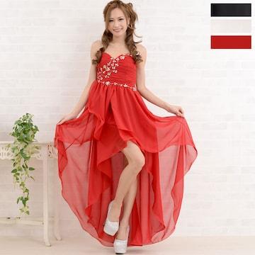 胸元ビジューデザイン テールカット ロングドレス チャムドレス