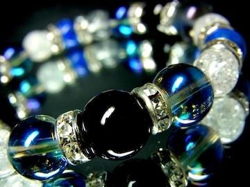 オニキス§ブルーオーラ10ミリ§クラック水晶ラピスラズリ8ミリ