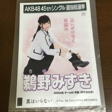 NMB48 鵜野みずき 翼はいらない 生写真 AKB48
