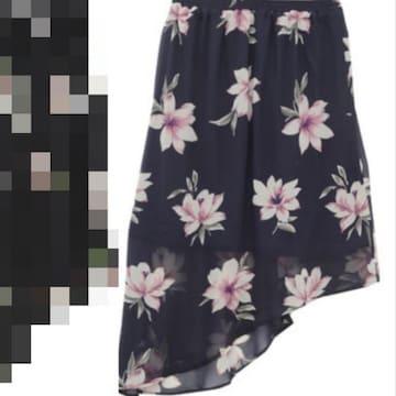 3L4L5L/新品☆花柄アシメスカート