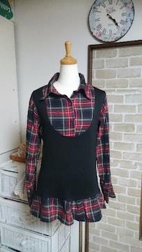 美品 赤チェックシャツ風長袖トップス Mサイズ