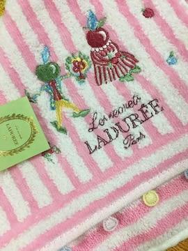 LADUREEラデュレタオルハンカチピンク刺繍