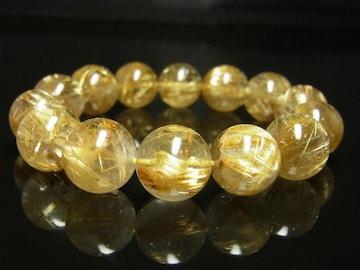 最強金運パワーストーン タイチンルチル ブレスレッ ト14ミリ数珠 開運天然石