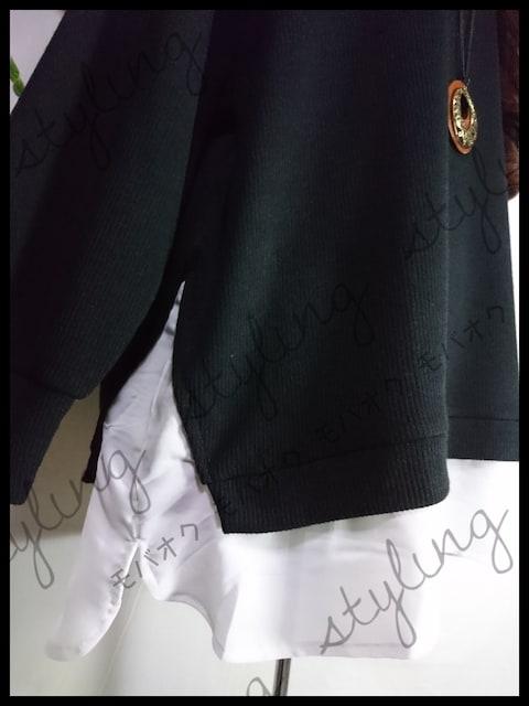 新品!大きいサイズ3L♪裾シフォンレイヤー風チュニック☆ブラック
