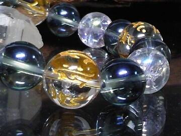 守り本尊梵字水晶14青水晶オーラクラック12数珠