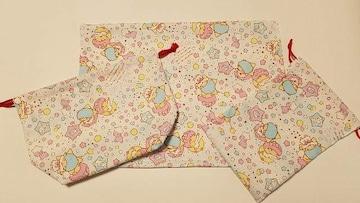 特価◆ 28 キキララ ランチマット&弁当入れ巾着&巾着set(^o^)ハンドメイド