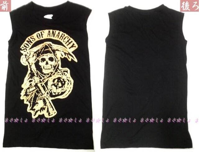 ラス1新品♪海賊スカルタンクトップ黒♪内もドクロ♪ノースリーブTシャツ♪骸骨