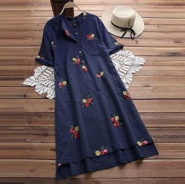 新品大きいサイズ5L〜6L ゆったり薔薇刺繍ワンピース 紺