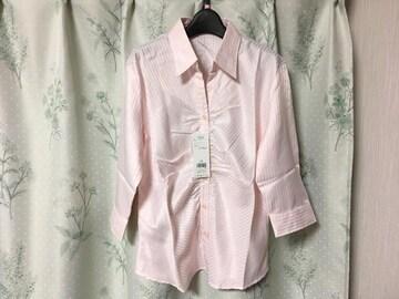 新品未使用ピンクシャツブラウス7分丈ストライプLサイズ