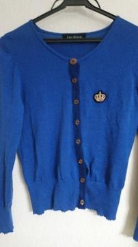 ブルー&ネイビー王冠刺繍カーデ◆ロゴボタン付◆クラロリ/24日迄の価格即決