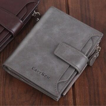 二つ折り財布 大容量 カード14枚 パスケース 灰色