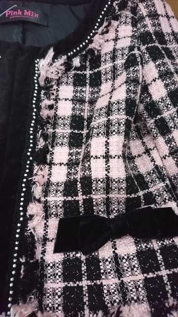 PinkMix☆パール付き☆ピンクツイードセットアップ☆新品タグ付 < ブランドの