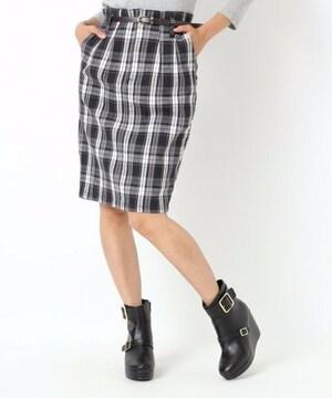即完売★Heather ヘザー★チェックタイトスカート ブラック/S 新品タグ付 未開封