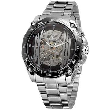 自動巻き 腕時計 スケルトン ステンレスバンド